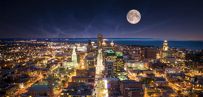 Full moon Buffalo NY cityscape