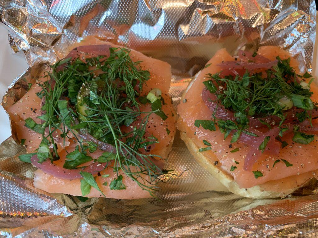Smoked lox bagel at Bodega